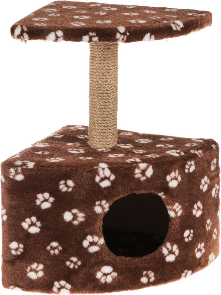 Игровой комплекс для кошек Меридиан, с домиком и когтеточкой, цвет: коричневый, белый, бежевый, 39 х 39 х 62 см игровой комплекс для кошек меридиан с двумя полками цвет белый черный бежевый 68 х 39 х 104 см