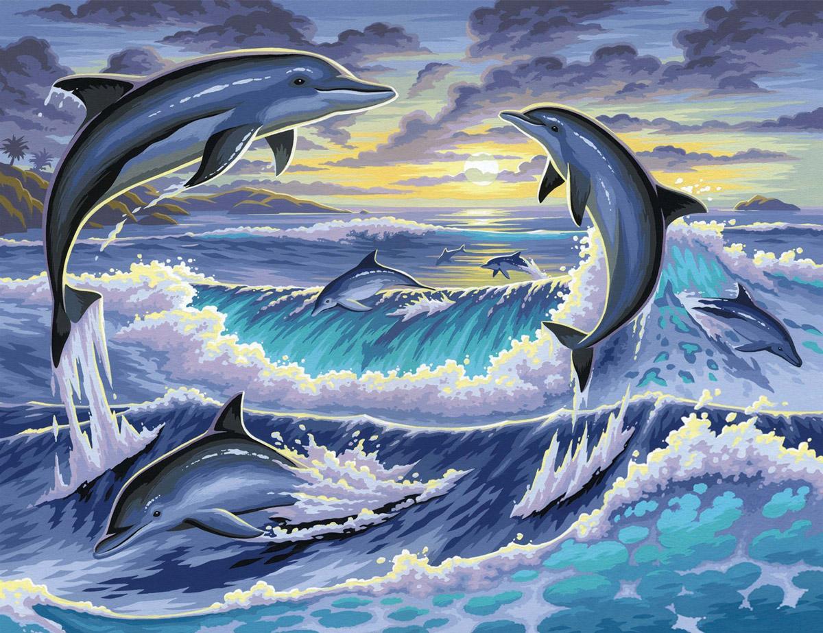 Картинки рисованные дельфины