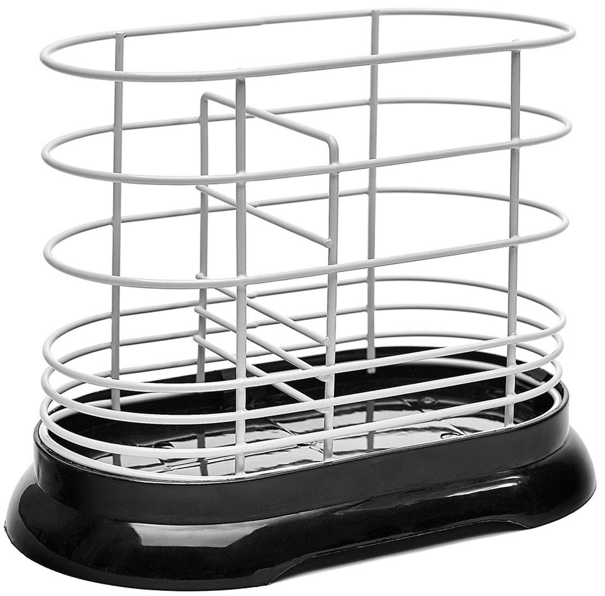 Подставка для столовых приборов Walmer, цвет: черный, 16 x 8,5 x 13,5 смW14161386Подставка для столовых приборов Walmer имеет лаконичный дизайн и подойдет под абсолютно любой интерьер кухни. Основание изделия изготовлено из качественного пластика. Если на приборах осталось немного воды, то она не будет стекать на стол, а останется в съемном поддоне. А материалом для прутков корпуса является сталь с порошковым покрытием – прочная и устойчивая к коррозии. К слову, в нижней части расстояние между прутками меньше, чтобы ручки столовых приборов не выскальзывали из подставки. Подставка Walmer не займет слишком много места на вашей кухне. Ее назначение в том, чтобы экономить пространство и упрощать жизнь своим владельцам. Для удобства в ней есть разделитель, который позволяет хранить приборы в разных отсеках. Рекомендуем!