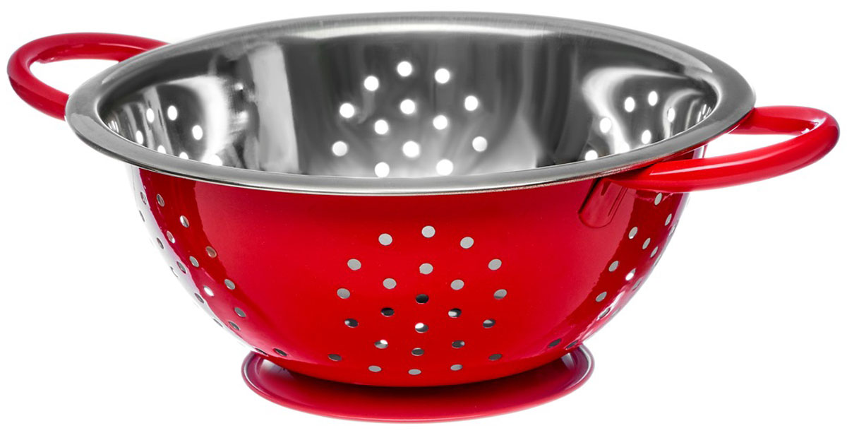 """Дуршлаг Walmer """"Holly"""", цвет: красный, серый, диаметр 22 см"""