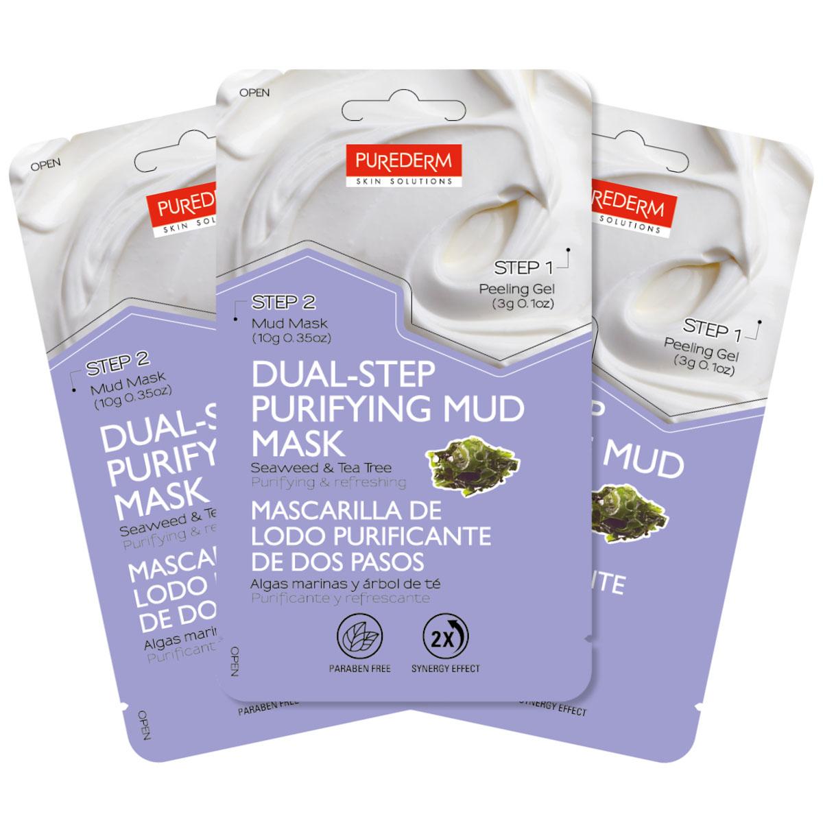 Purederm Набор Двойной уход: Отшелушивающий гель, 3 г + Очищающая грязевая маска с экстрактом водорослей и чайного дерева, 10 г коллагеновая маска purederm с экстрактом кофе 18 г х 3 шт