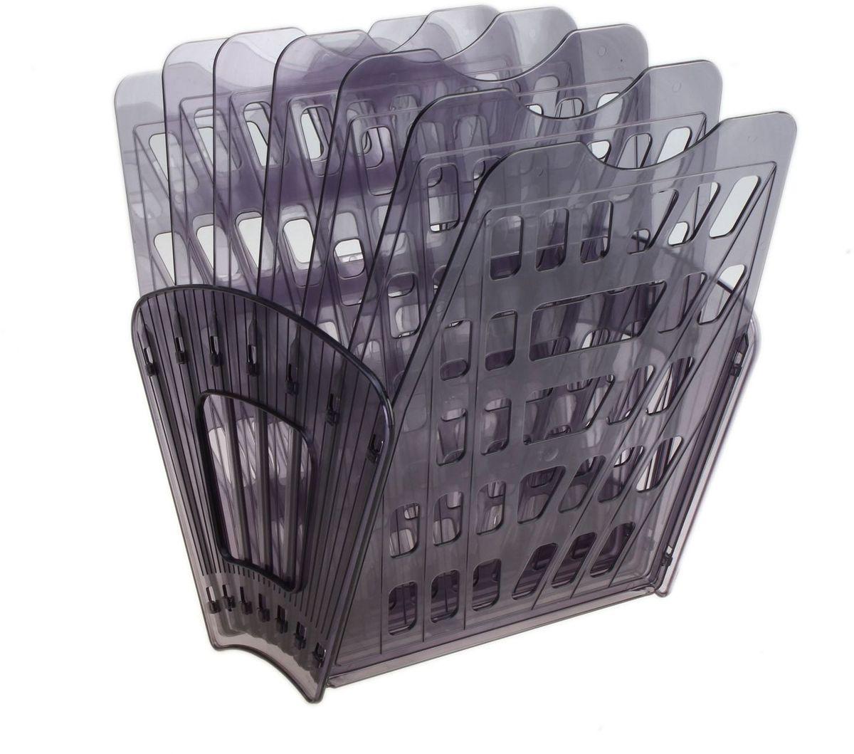 Стамм Лоток для бумаг 7 отделений цвет серый609189Лоток для бумаг Стамм выполнен из высококачественного пластика с полированной гладкой поверхностью. Лоток состоит из двух боковых стоек и семи секций, на рабочем столе устанавливается как горизонтально, так и вертикально, имеет специальные отверстия для крепления на стену. Легко собирается и разбирается, имеет четыре отделения для листов формата А4. С лотком для бумаг Стамм у вас больше не возникнут сложности с поддержанием порядка на столе!