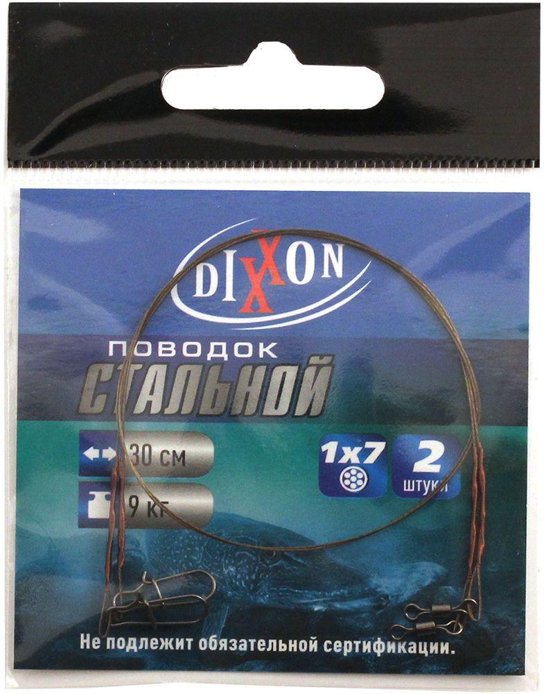 Поводок рыболовный Dixxon, стальной, 1х7, длина 30 см, 9 кг, 2 шт поводки dixxon стальные 1х7 15см 9кг 2шт