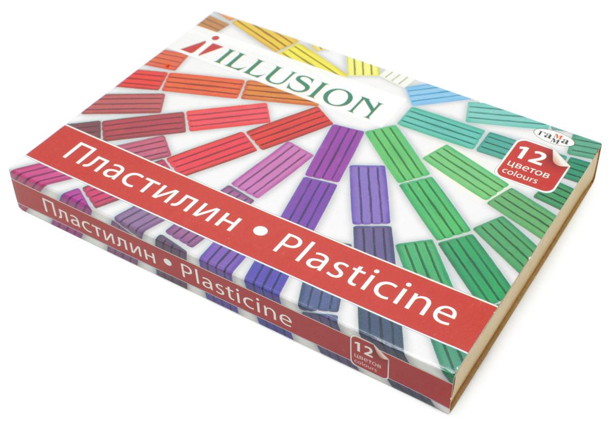 Гамма Пластилин Illusion 12 цветов набор для лепки гамма пластилин классический 12 цветов 240g 281033