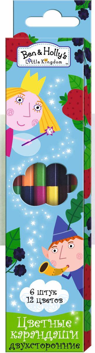 Ben&Holly Набор цветных карандашей Бен и Холли двусторонние 12 цветов 6 шт карандаши bruno visconti набор карандашей цветных disney белоснежка 6 цветов