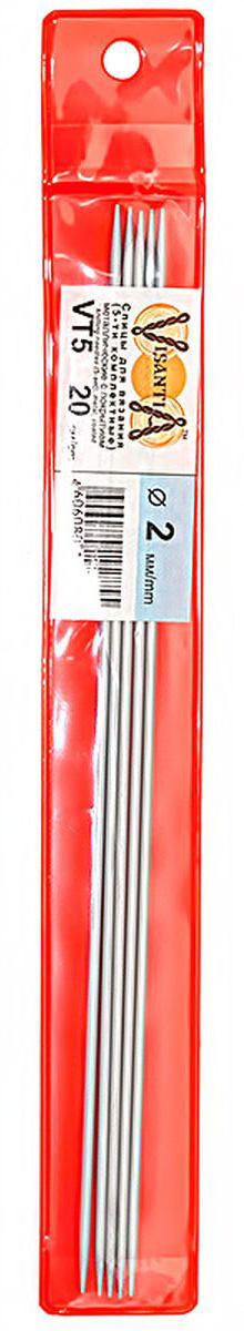 Спицы Visantia, металлические, прямые, диаметр 2 мм, длина 20 см, 5 шт спицы прямые алюминиевые с покрытием 35см 5 0мм 940250 940205