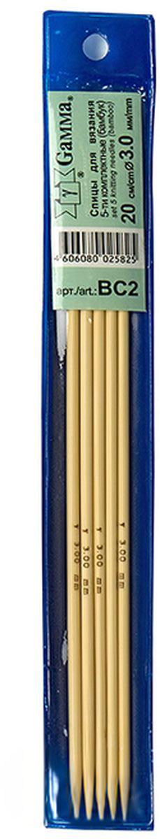 Фото - Спицы Gamma, бамбуковые, диаметр 3 мм, длина 20 см, 5 шт спицы прямые gamma металлические диаметр 5 мм длина 20 см 5 шт