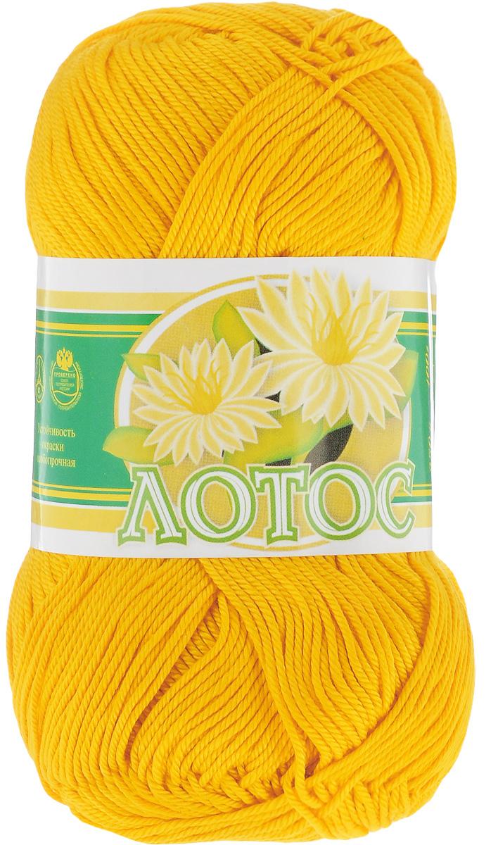 """Нитки вязальные """"Лотос"""", хлопчатобумажные, цвет: желтый (0305), 250 м, 100 г, 4 шт"""