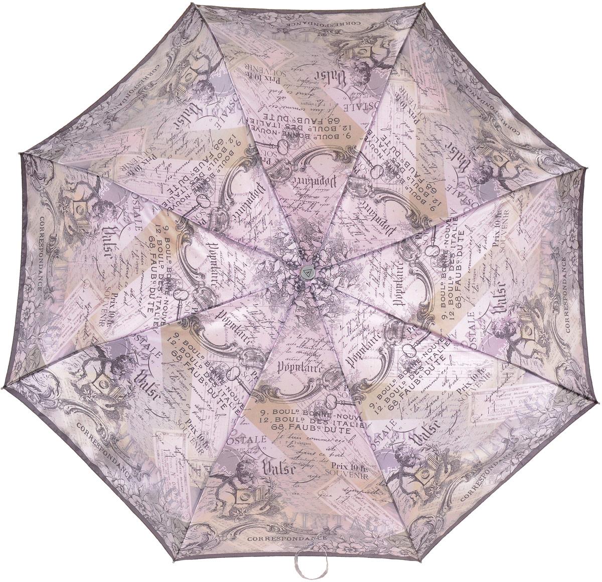 Зонт женский Fabretti, автомат, 3 сложения, цвет: сиреневый, черный. L-17100-2 цена и фото