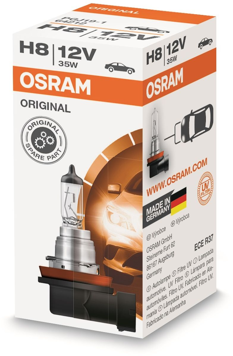 Лампа автомобильная галогенная Osram Original Line, для фар, цоколь PGJ19-1, 12V, 35Вт лампа галогенная osram h7 original line super bright 12v 55w 1 шт 64210sup