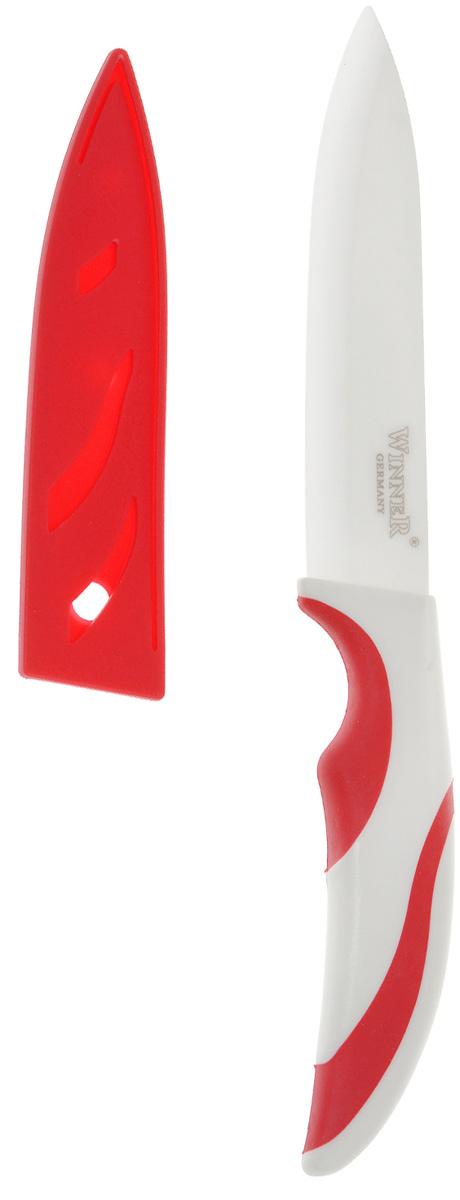"""Нож универсальный """"Winner"""", керамический, с чехлом, цвет: красный, длина лезвия 12,5 см"""