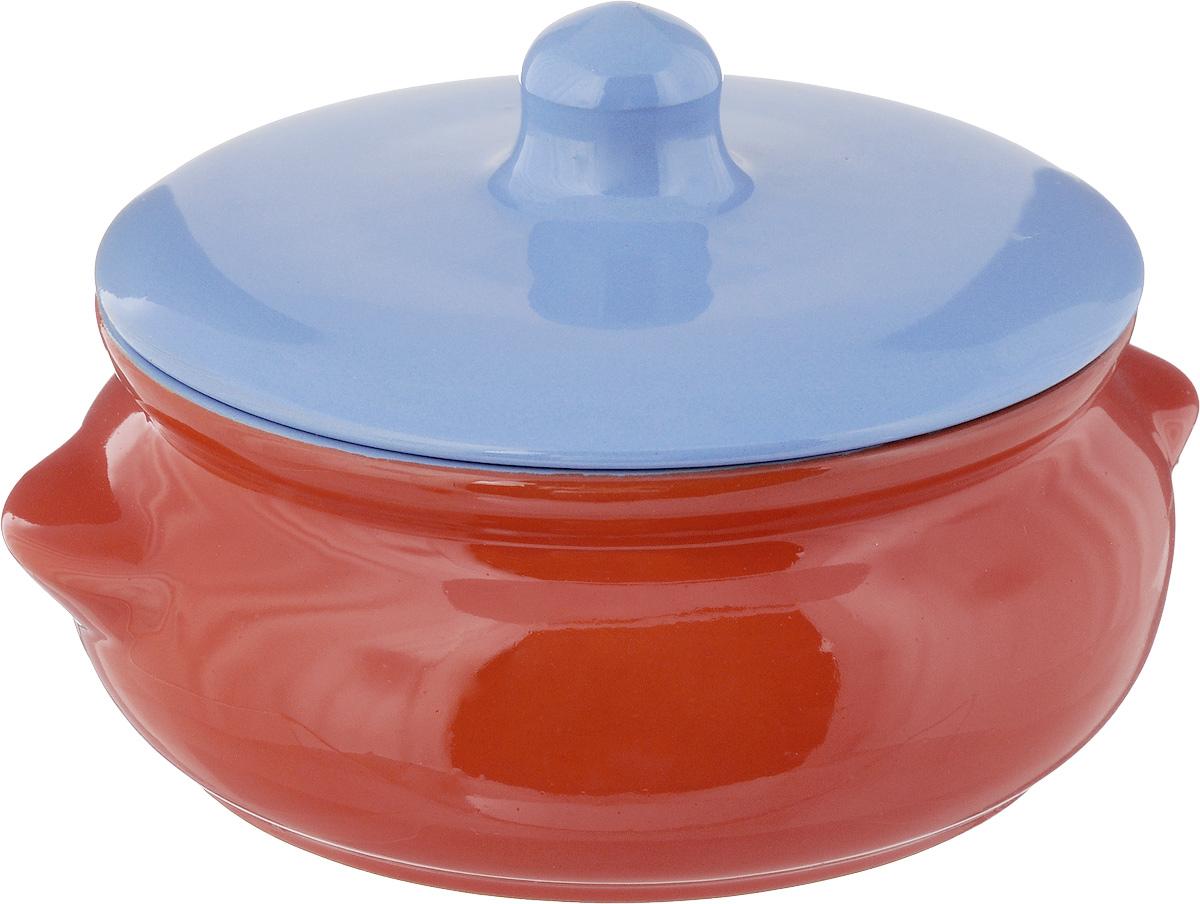 Горшок для запекания Борисовская керамика Радуга, с крышкой, цвет: оранжевый, сиреневый, 700 мл горшок для запекания борисовская керамика радуга с крышкой цвет голубой желтый 700 мл