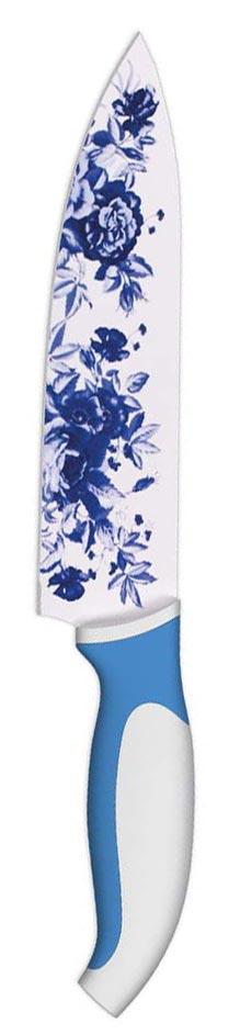 """Нож поварской """"Ладомир"""", с антибактериальным покрытием, цвет: белый, синий, 20 см"""