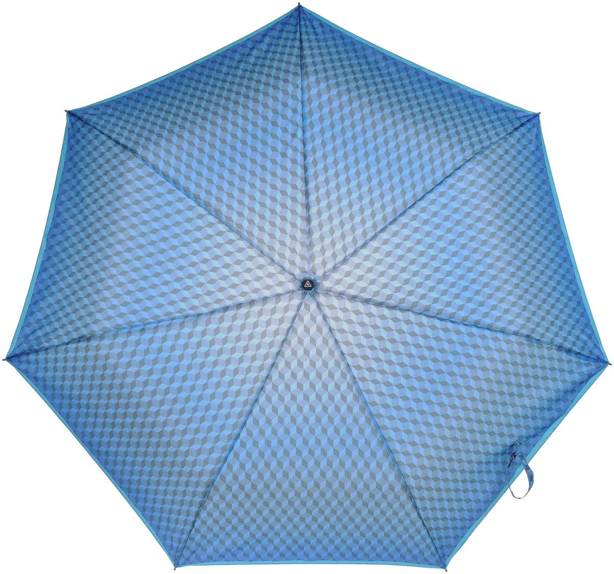 Зонт женский Fabretti, автомат, 3 сложения, цвет: синий. P-17100-1