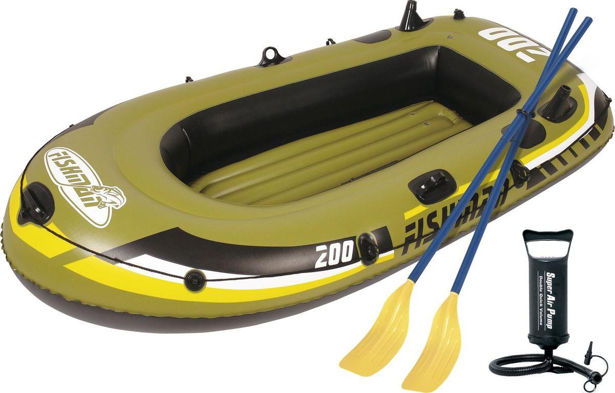 Лодка надувная Jilong Fishman 200 Set, с веслами и насосом, цвет: темно-зеленый, 218 см х 110 см х 36 см бассейны jilong round stell frame pools 360х76 см с фильтр насосом
