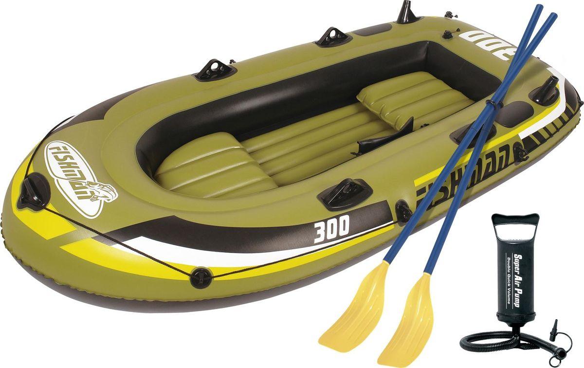 """Лодка надувная Jilong """"Fishman 300 Set"""", с веслами и насосом, цвет: темно-зеленый, 252 см х 125 см х 40 см"""