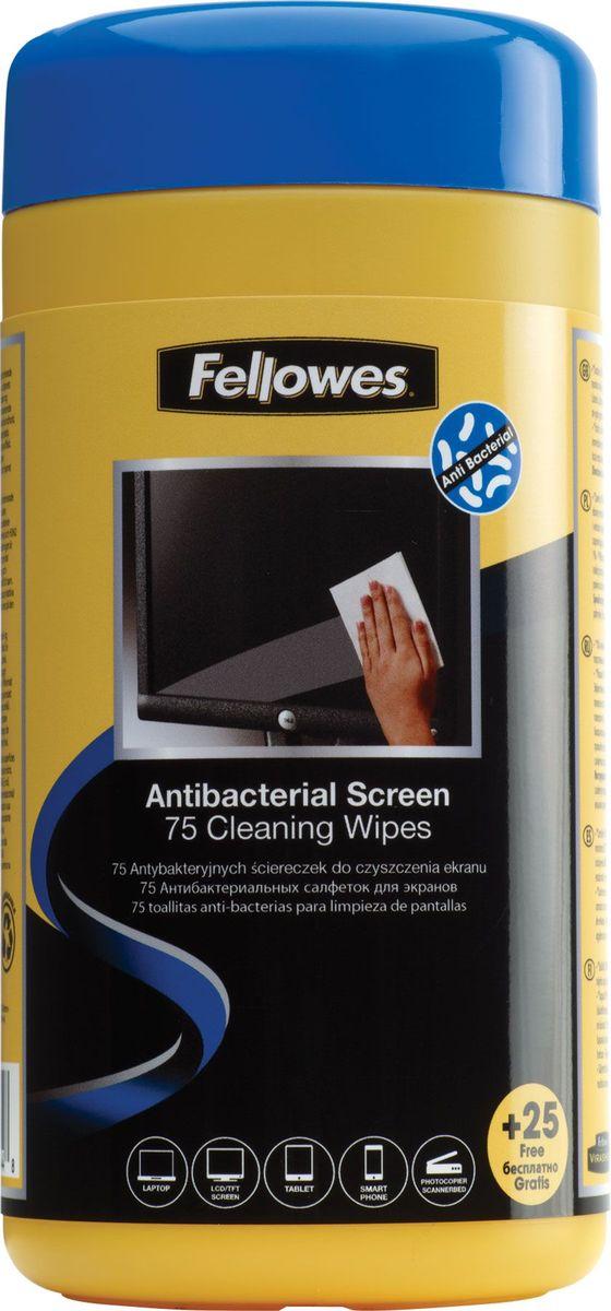 Fellowes FS-22117 антибактериальные салфетки для экранов (100 шт) влажные салфетки fellowes fs 22117 100 шт