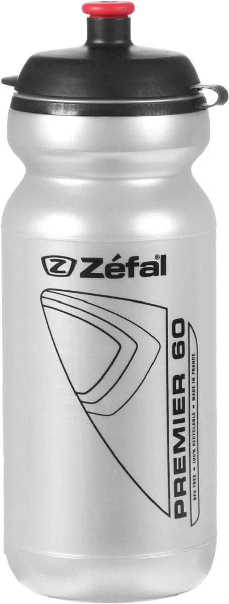 Фляга велосипедная Zefal Premier 60, цвет: серый металлик, 600 мл фляга велосипедная zefal magnum цвет белый 1 л 164с