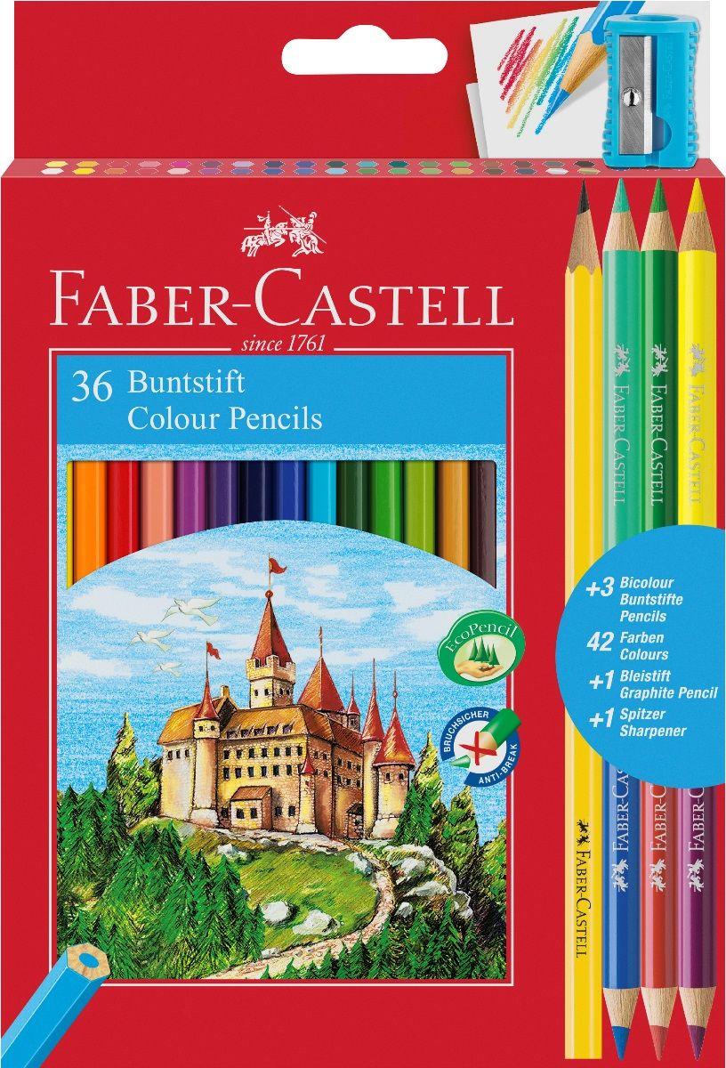 Faber-Castell Набор цветных карандашей Замок 36 цветов с точилкой + 3 двухцветных карандаша + Карандаш чернографитовый