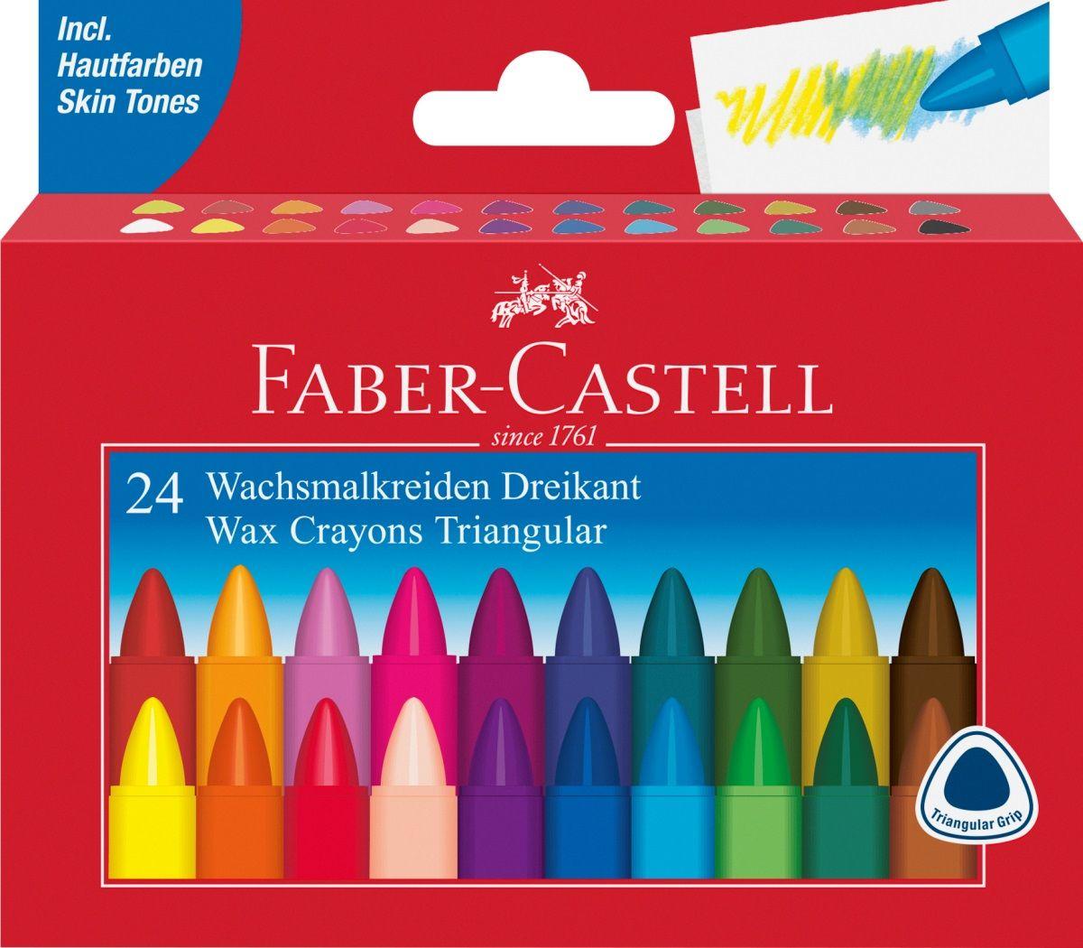 Faber-Castell Набор восковых карандашей Triangular трехгранные 24 цвета carioca набор экстра крупных восковых карандашей baby для детей