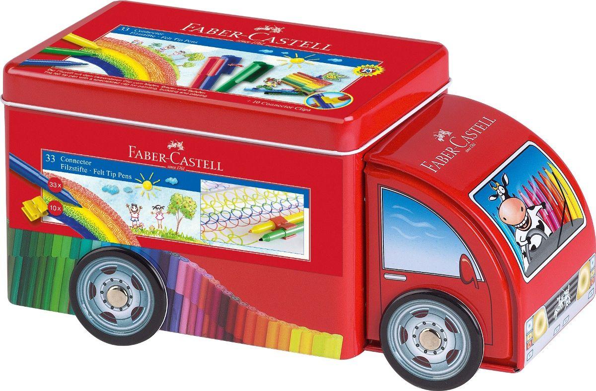 Набор фломастеров Connector Машина с клипами 33 цвета
