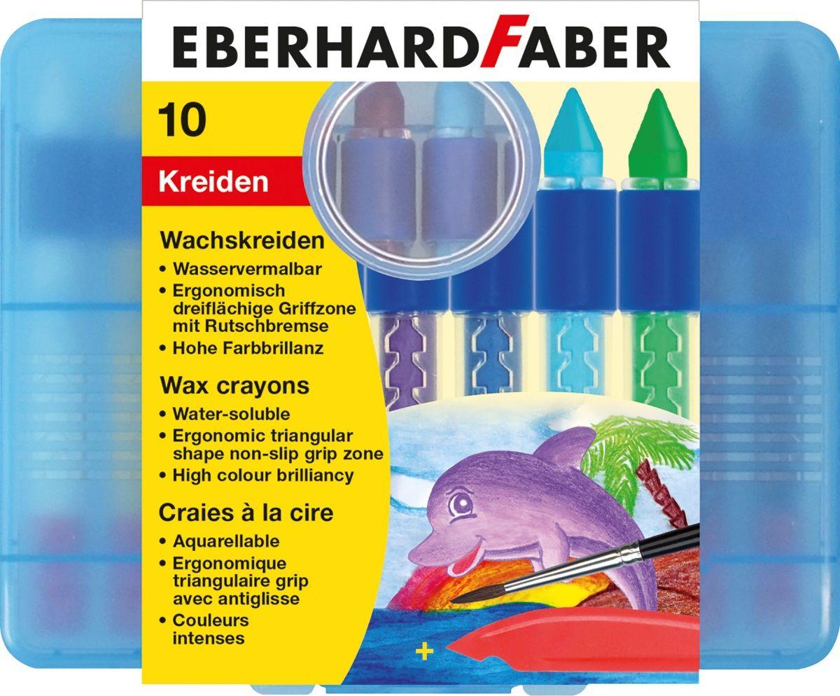 Eberhard Faber Мелки восковые трехгранные водорастворимые 10 цветов набор для аквагрима eberhard faber принцесса 4 цвета кисточка инструкция
