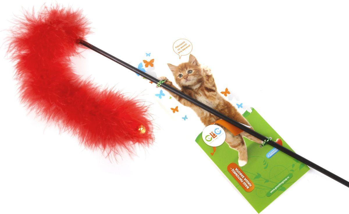Игрушка-дразнилка для кошек GLG Боа с бубенчиками, цвет в ассортименте, длина 60 см игрушка дразнилка для кошек glg боа с бубенчиками цвет зеленый длина 60 см