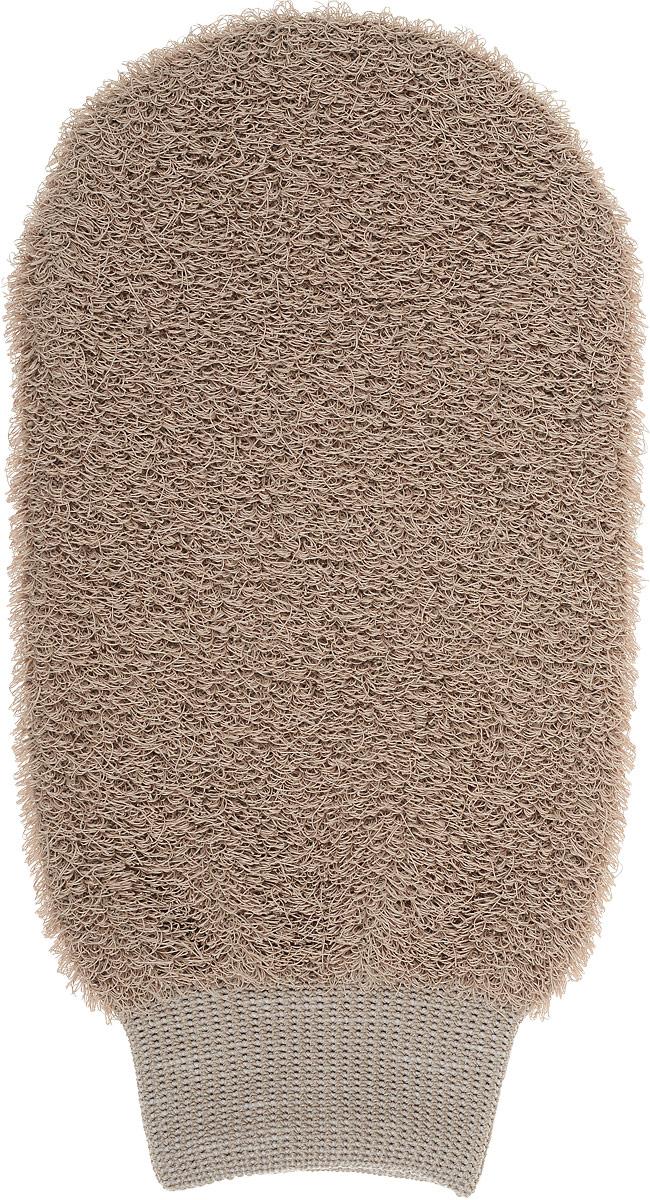 Мочалка-рукавица Riffi, жесткая, цвет: светло-коричневый мочалка рукавица riffi мягкая цвет бежевый