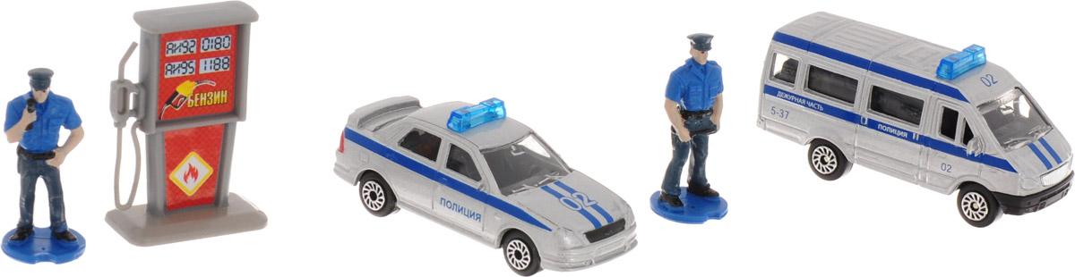 ТехноПарк Набор машинок Полиция с фигурками гаражи и игровые наборы технопарк игровой набор технопарк парковка спецслужб со спуском