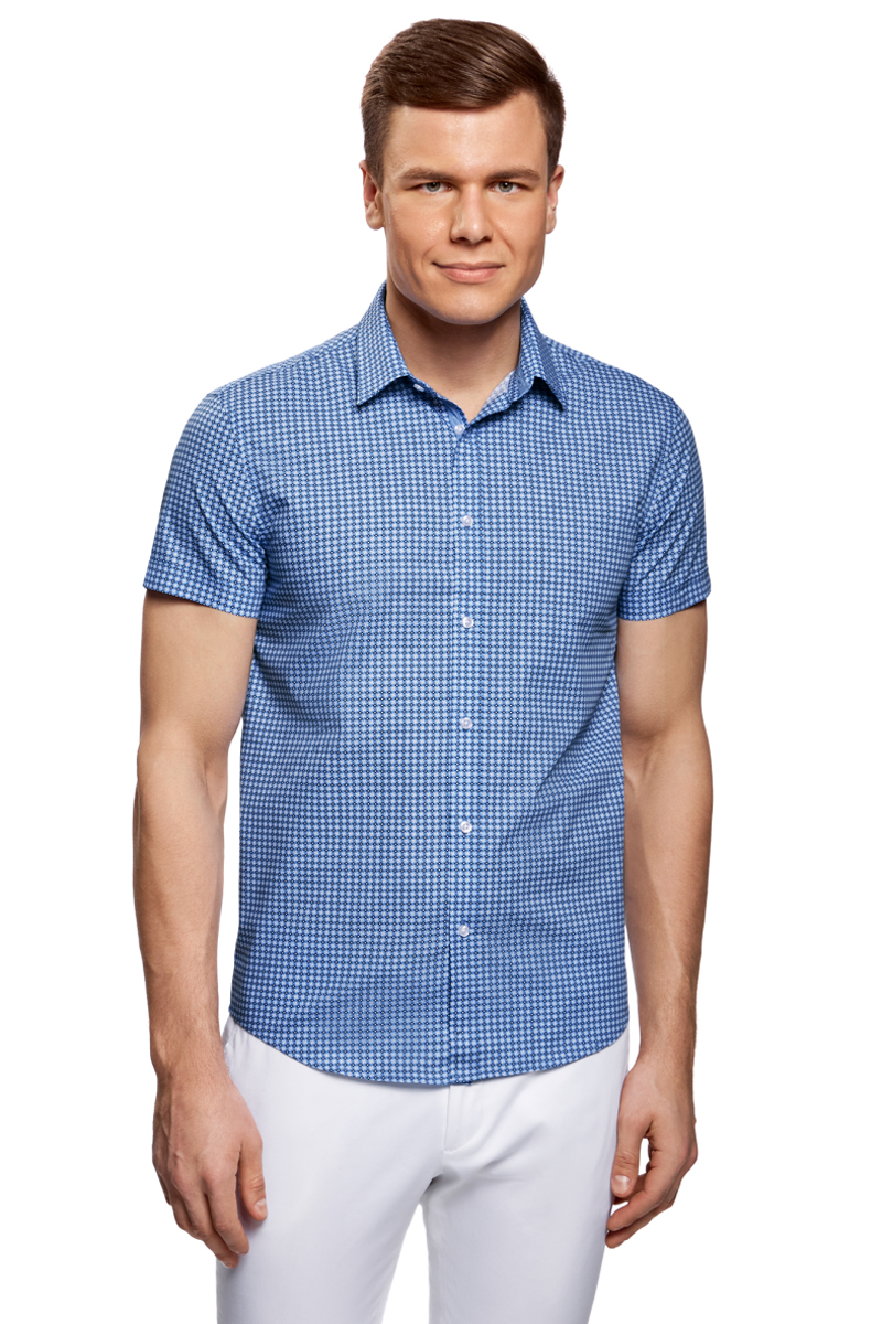 Рубашка мужская oodji Lab, цвет: голубой, белый. 3L210041M/19370N/7010G. Размер 37 (42-182) брюки мужские oodji lab цвет индиго 2l210231m 23421n 7800n размер 38 46 182