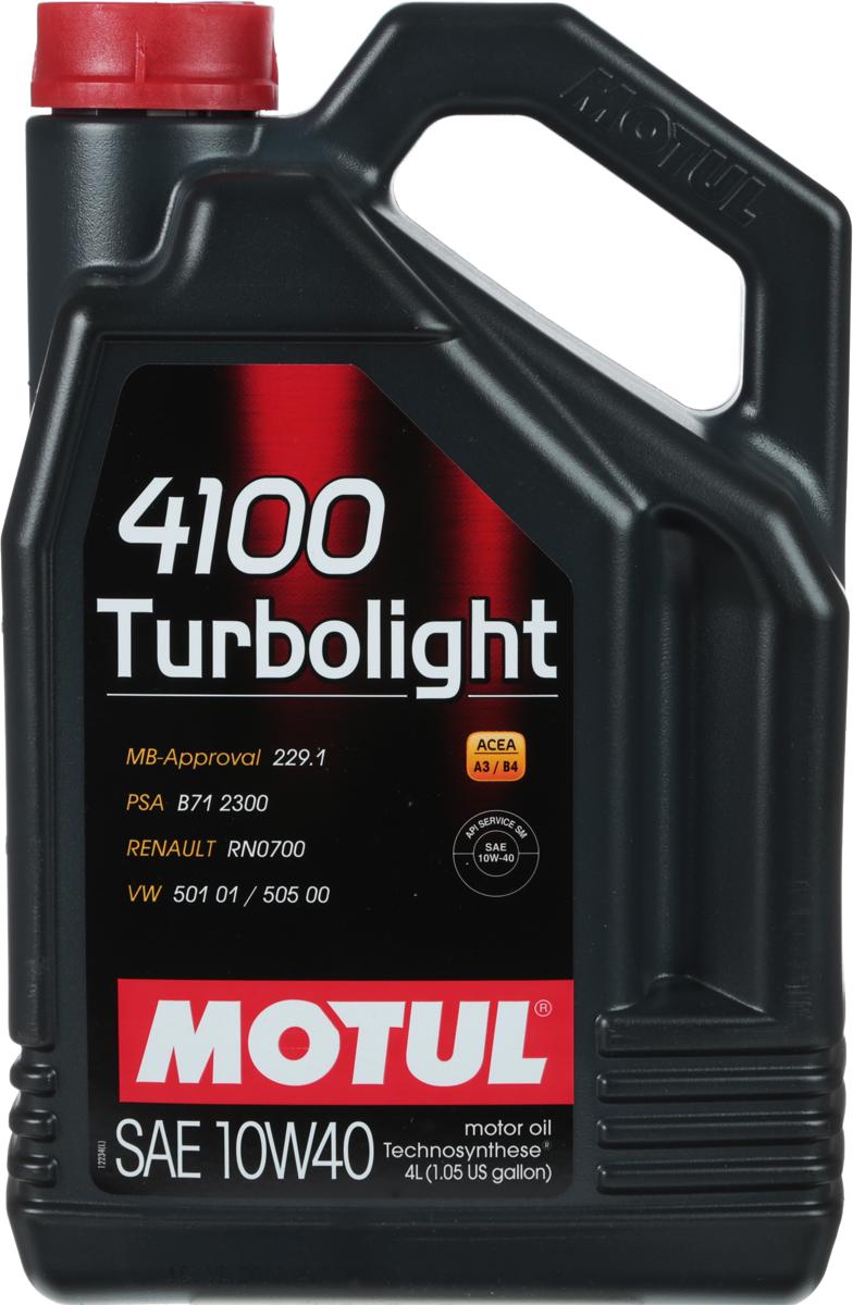 Масло моторное Motul 4100 Turbolight. Technosynthese, синтетическое, 10W-40, 4 л масло моторное motul scooter expert 4t ma technosynthese полусинтетическое 10w 40 1 л