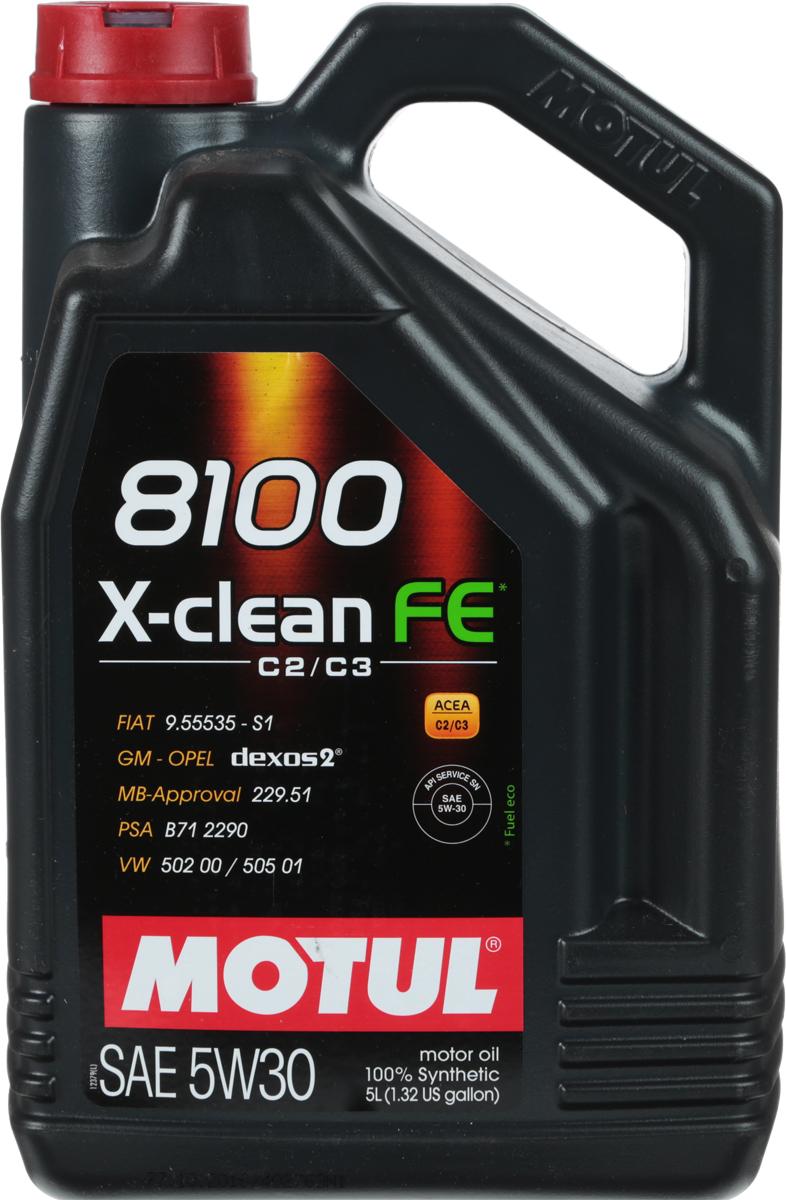 """Масло моторное Motul """"8100 X-Clean Fe"""", синтетическое, 5W-30, 5 л"""