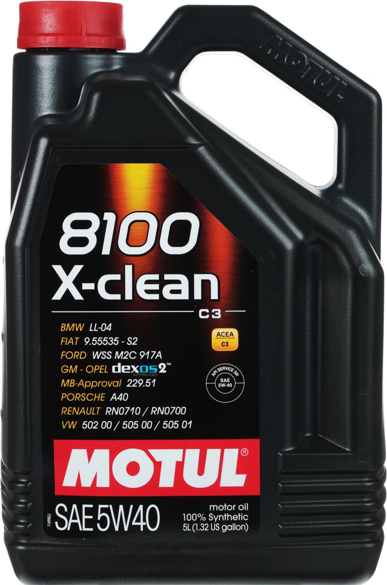 """Масло моторное Motul """"8100 X-Clean"""", синтетическое, 5W-40, 5 л"""