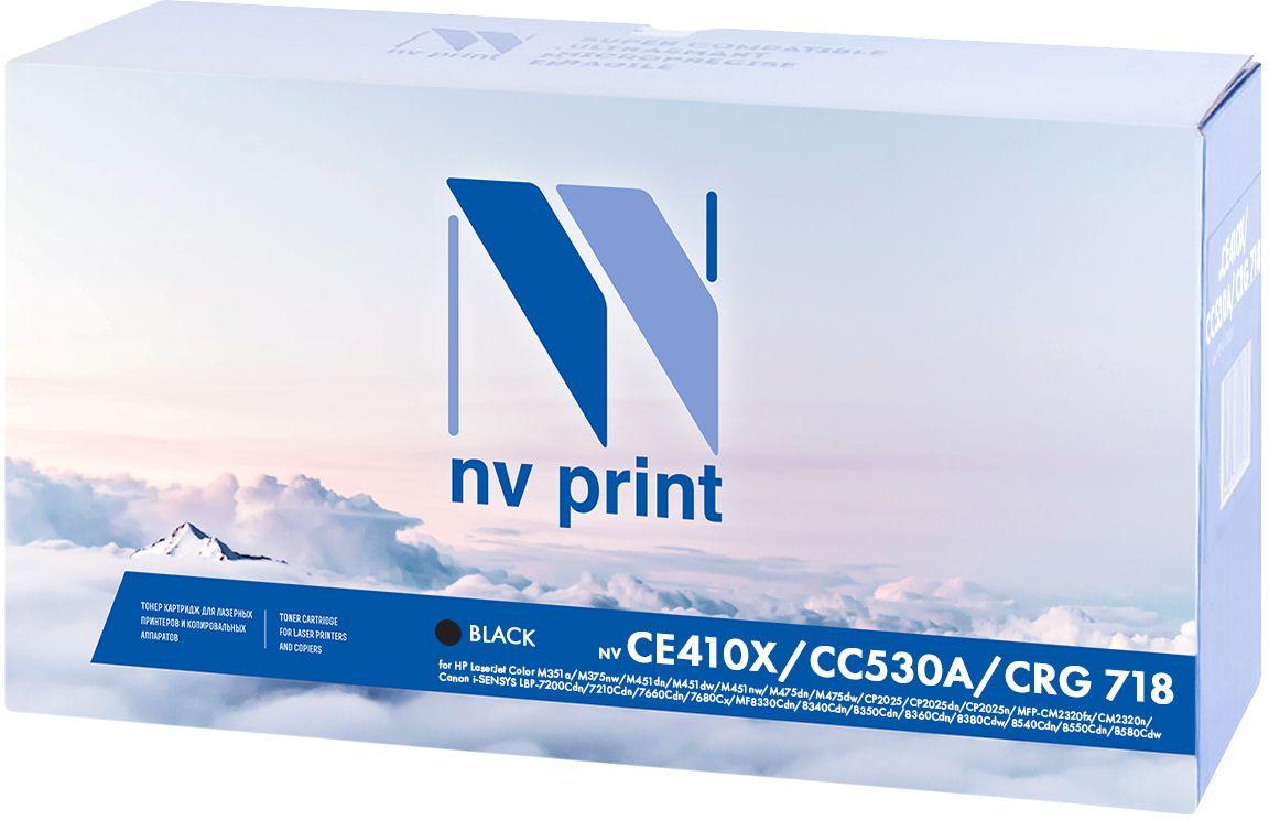 Картридж NV Print CE410X/CC530A/718Bk, черный, для лазерного принтера картридж nv print hp q6470a canon 711 черный black 6000 стр для hp laserjet color 3505 3600 3800 canon lbp 5300 5360 mf 9130 9170 9220cdn 9280cdn