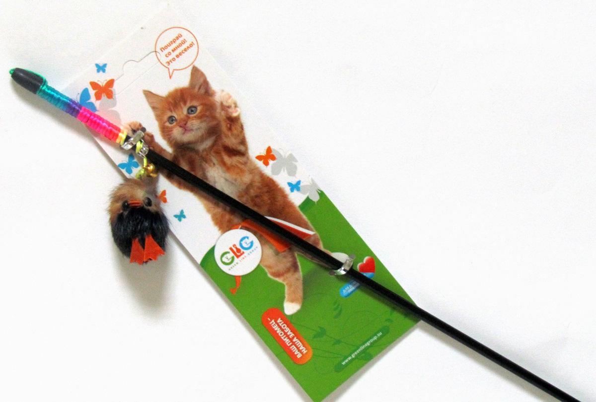 Игрушка-дразнилка для кошек GLG Птичка, длина 60 см игрушка дразнилка для кошек glg боа с бубенчиками цвет зеленый длина 60 см