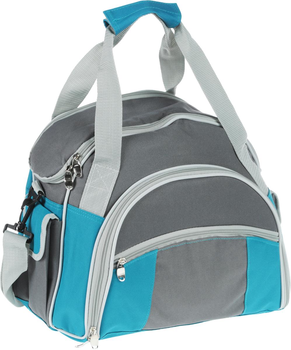 Набор для пикника Green Glade, 4 персоны, цвет: серый, голубой, 30 предметов. T3207 цена