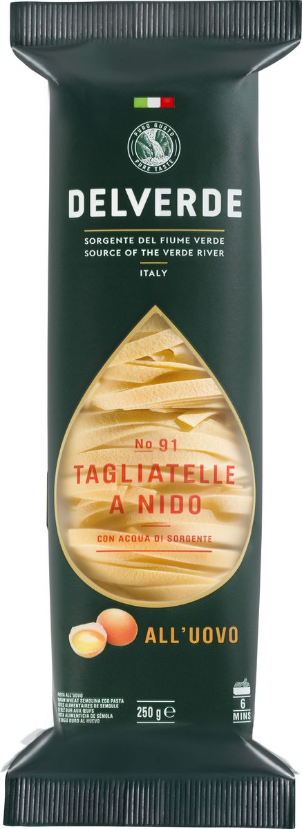 Delverde № 091 паста Тальятелле яичная, 250 г