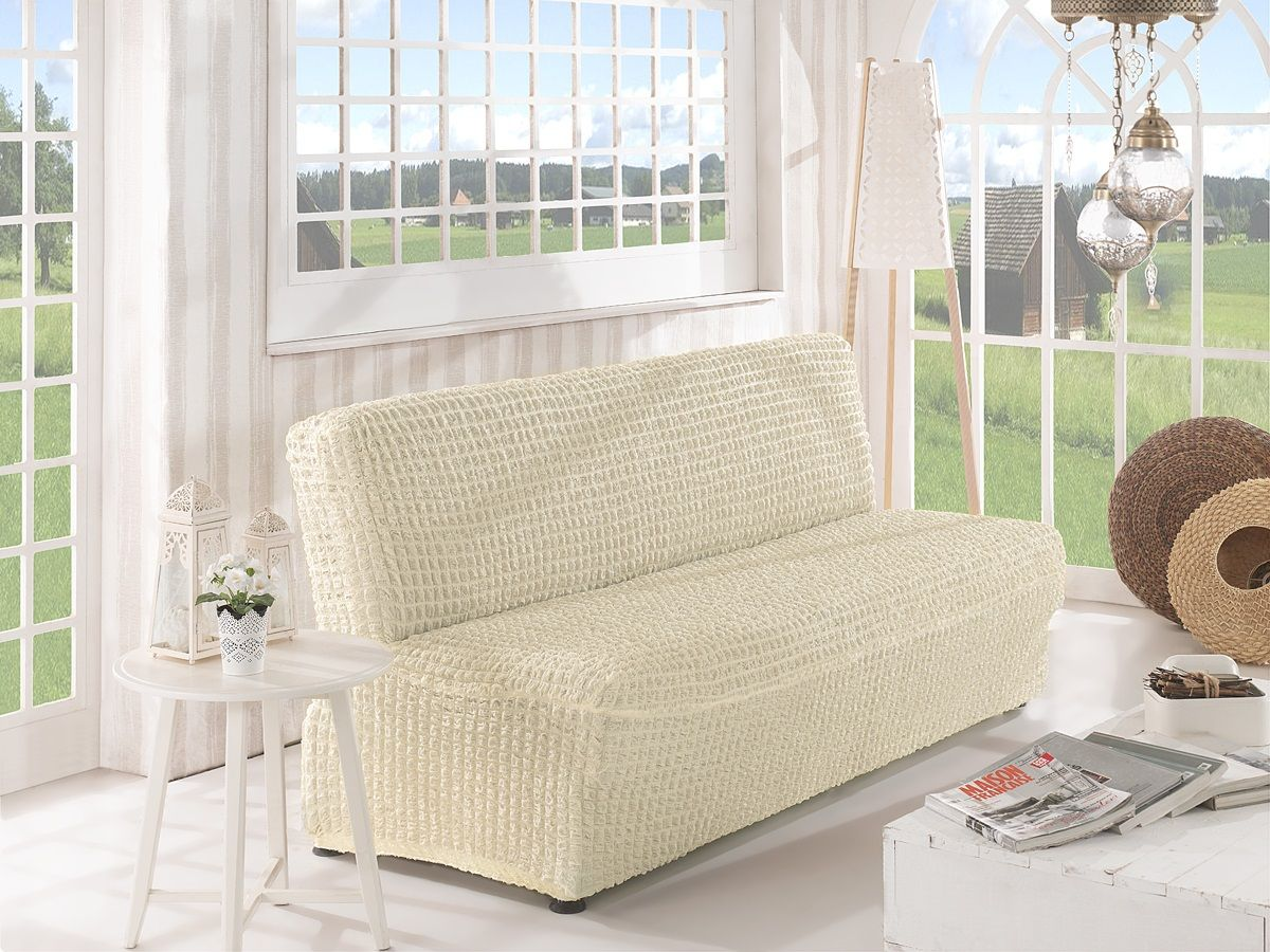 Чехол для двухместного дивана Karna, без подлокотников, без юбки, цвет: молочный чехол для двухместного дивана без подлокотников karna 2649 char006