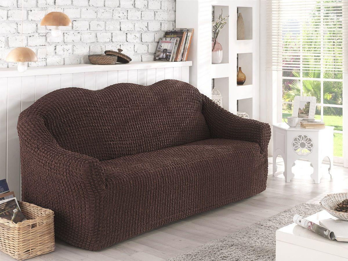 Чехол для двухместного дивана Karna, без юбки, цвет: коричневый. 2651/CHAR003 чехол для двухместного дивана без подлокотников karna 2649 char006