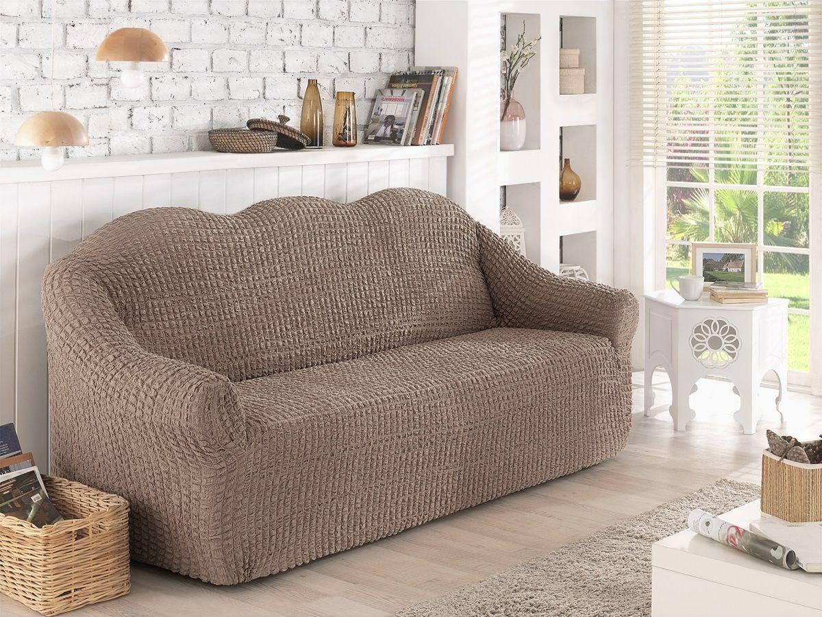 Чехол для двухместного дивана Karna, без юбки, цвет: кофейный. 2651/CHAR004 чехол для двухместного дивана без подлокотников karna 2649 char006