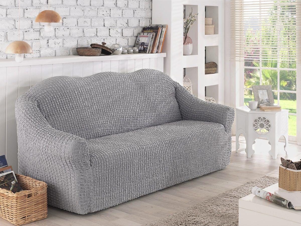 Чехол для двухместного дивана Karna, без юбки, цвет: серый. 2651/CHAR007 чехол для двухместного дивана без подлокотников karna 2649 char006