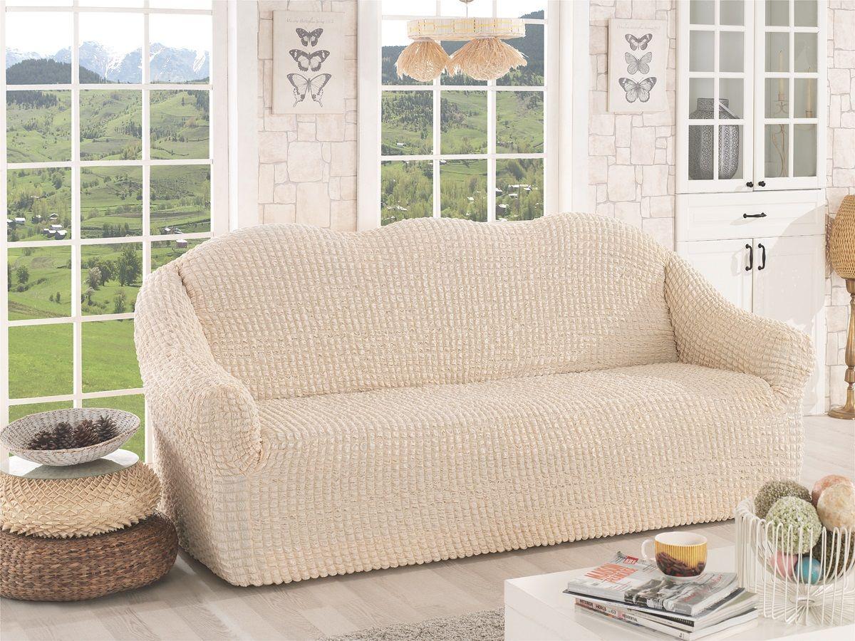 Чехол для дивана Karna, трехместный, без юбки, цвет: натурал. 2652/CHAR006 чехол для двухместного дивана без подлокотников karna 2649 char006