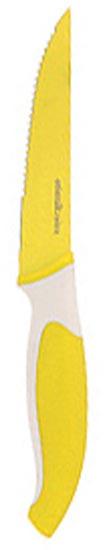 Нож кухонный Atlantis, цвет: желтый, длина лезвия 10 см. L-5K-YL-5K-YНож кухонный Atlantis высшего качества предназначен для профессионального и домашнего использования, для нарезки продуктов. Также нож идеально подойдет для нарезки хлеба. Очень удобная и эргономичная ручка не позволит выскользнуть ножу из вашей руки. Особенности ножа Atlantis: японская высокоуглеродистая нержавеющая сталь прочный и острый клинок безопасное и прочное покрытие лезвия не дающее пище прилипать к ножу красивое сочетание цветов ручки и лезвия. Характеристики: Материал: нержавеющая сталь, пластик. Длина лезвия: 10 см. Длина общая: 21 см. Производитель: Китай. Артикул: L-5K-Y.