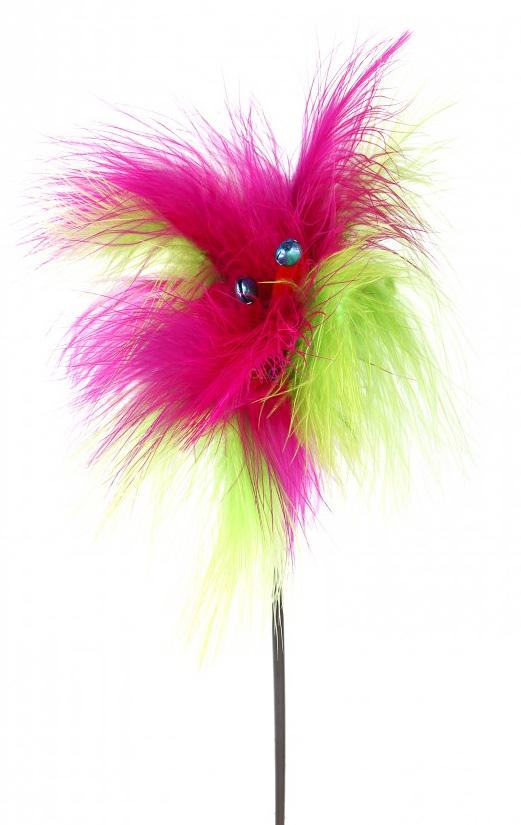 Игрушка-дразнилка для кошек GLG Жар-птица, цвет в ассортименте, длина 70 см игрушка дразнилка для кошек glg боа с бубенчиками цвет зеленый длина 60 см