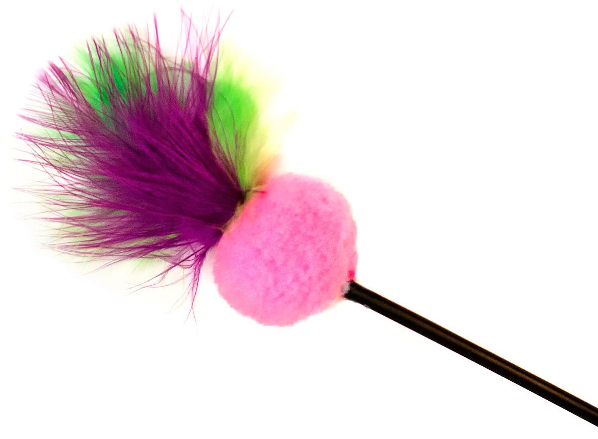 Игрушка-дразнилка для кошек GLG Мячик мягкий с перьями, длина 60 см игрушка дразнилка для кошек glg косичка длина 60 см