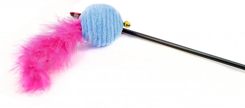 Игрушка для животных GLG Мячик с хвостиком, дразнилка для кошек , цвет в ассортименте, длина 60 см игрушка дразнилка для кошек glg талисман цвет зеленый черный длина 140 см