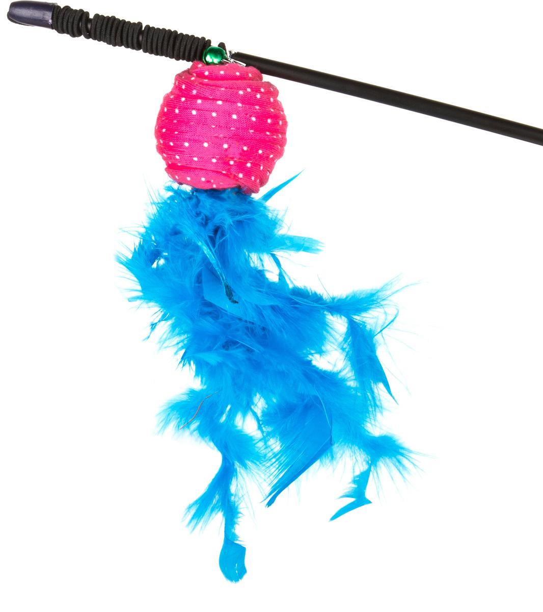 Игрушка-дразнилка для кошек GLG Полосатый шарик с перьями, длина 60 см игрушка дразнилка для кошек glg боа с бубенчиками цвет зеленый длина 60 см