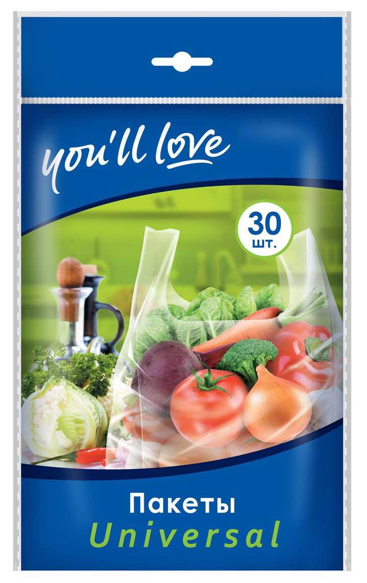 Пакеты You`ll love Universal, 21 х 46 см, 30 шт мочалка металлическая you ll love с держателем цвет бирюзовый диаметр 8 см