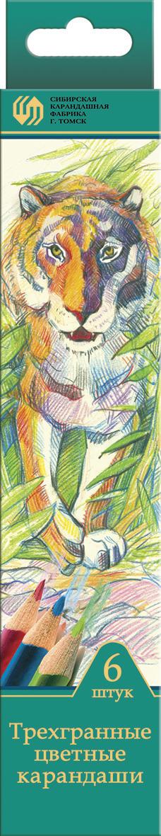 СКФ Набор цветных карандашей Сибирский кедр Дикие кошки 6 шт скф набор чернографитных карандашей сибирский кедр 6 шт