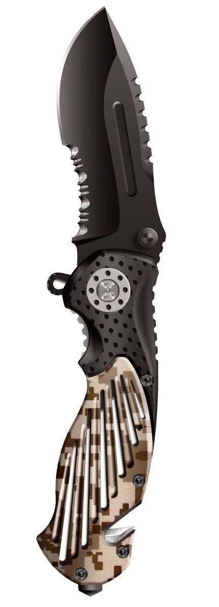 """Нож складной Stinger """"SA580DC"""", цвет: черный, камуфляж, 8,4 см"""